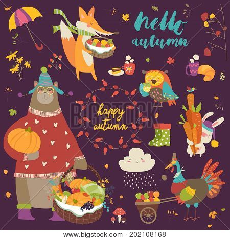 Set of cute autumn cartoon characters, plants and food. Hello autumn
