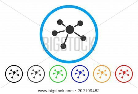 Connections vector rounded icon. Image style is a flat gray icon symbol inside a blue circle. Additional color variants are gray, black, blue, green, red, orange.