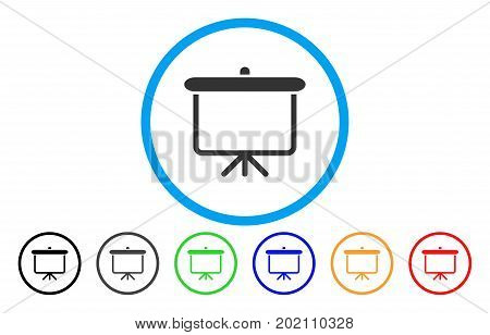 Projection Board vector rounded icon. Image style is a flat gray icon symbol inside a blue circle. Additional color versions are grey, black, blue, green, red, orange.