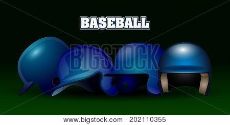 Set Of Baseball Helmets