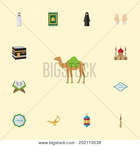 Flat Icons Minaret, Prayer Carpet, Muslim Woman And Other Vector Elements