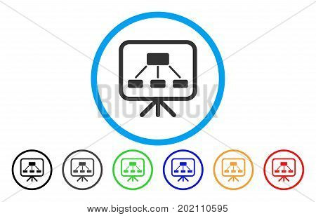 Scheme Demonstration Screen vector rounded icon. Image style is a flat gray icon symbol inside a blue circle. Additional color versions are grey, black, blue, green, red, orange.