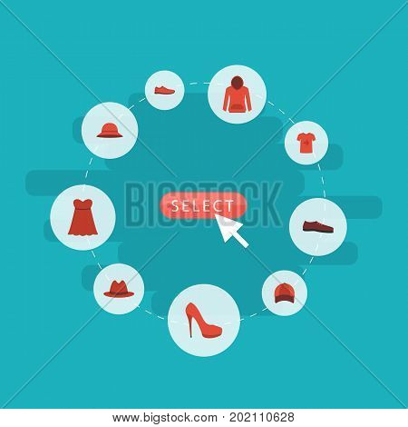 Flat Icons Elegant Headgear, Evening Dress, Man Footwear And Other Vector Elements
