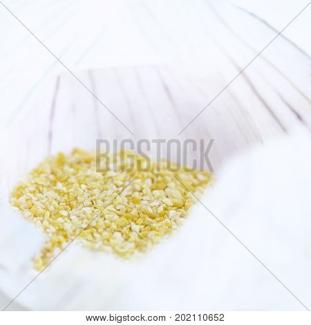 extreme selective focus showing an square atmospheric close up of garlic granule salt light blurred background to aid copy space and text