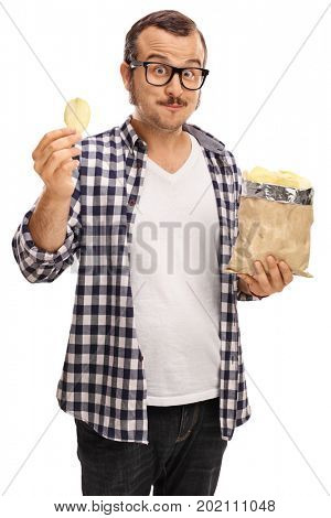 Man with a bag of potato chips looking at the camera isolated on white background