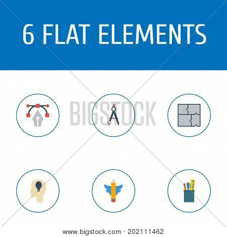 Flat Icons Scheme, Case, Writing And Other Vector Elements