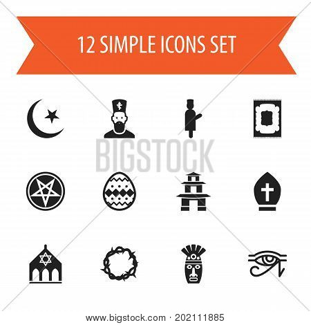 Set Of 12 Editable Dyne Icons. Includes Symbols Such As Begging, Egypt God, Muslim Carpet And More