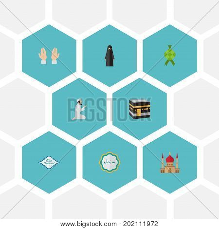 Flat Icons Mecca, Malay, Arabic Calligraphy And Other Vector Elements