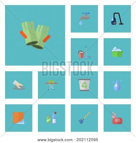 Flat Icons Gauntlet, Towel, Sweeper And Other Vector Elements