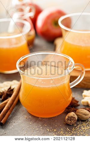 Fall apple cider with warm spices, cinnamon and nutmeg
