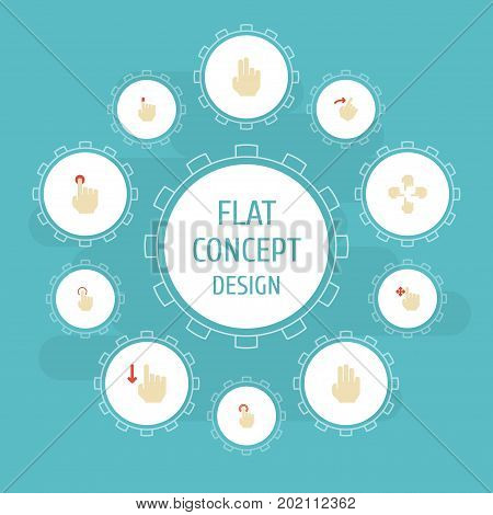 Flat Icons Sensory, Strong Touch, Finger And Other Vector Elements