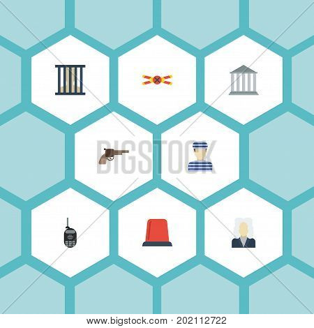 Flat Icons Jail, Building, Warning Strip And Other Vector Elements