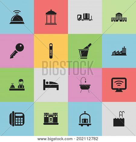 Set Of 16 Editable Motel Icons. Includes Symbols Such As Champagne, Building, Pool And More
