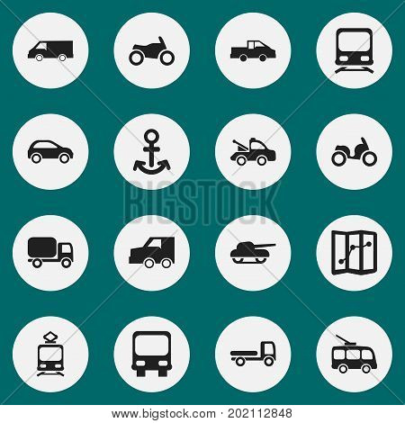 Set Of 16 Editable Shipment Icons. Includes Symbols Such As Haulage, Shipping, Tramcar And More