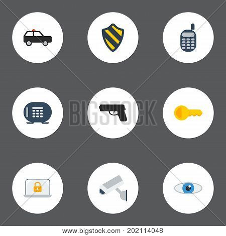 Flat Icons Walkie-Talkie, Safe, Gun And Other Vector Elements