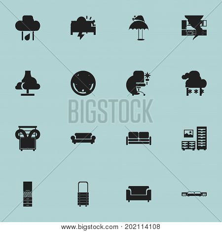 Set Of 16 Editable Interior Icons. Includes Symbols Such As Mattress, Locker, Glim And More