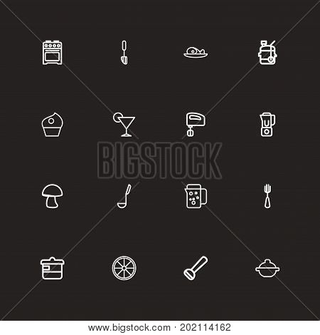 Set Of 16 Editable Food Outline Icons. Includes Symbols Such As Squeezer, Mixer, Potato Peeler And More