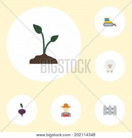 Flat Icons Bulldozer, Radish, Wooden Barrier And Other Vector Elements