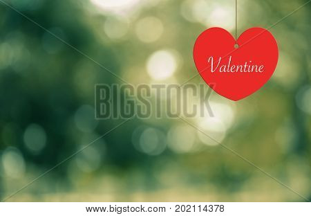 Heart-Valentine hanging on a rope on abtract background vintage style.