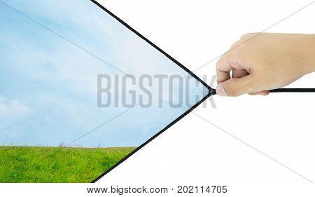 Hand Unzip On The Nature Background, Clipping Part