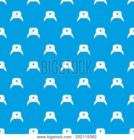 Earflap hat pattern repeat seamless in blue color for any design. Vector geometric illustration