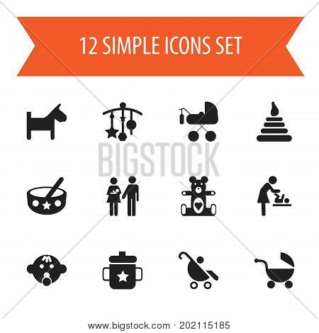 Set Of 12 Editable Child Icons. Includes Symbols Such As Spoon, Goplet, Adorn And More
