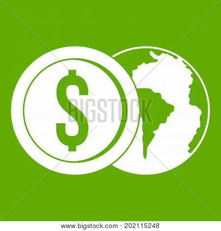 World planet and dollar coin icon white isolated on green background. Vector illustration