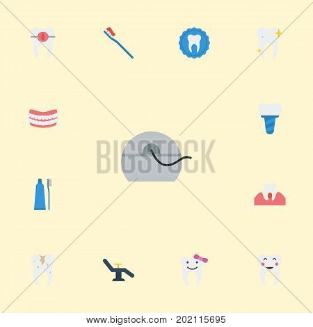 Flat Icons Toothbrush, Halitosis, Artificial Teeth And Other Vector Elements