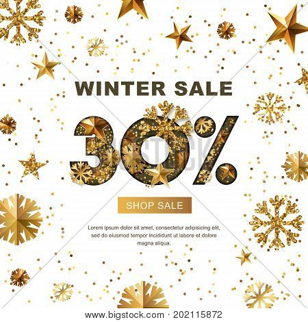 Winter Sale 30 Percent Off, Vector Banner With 3D Gold Stars And Snowflakes. Paper Cut Style 30 Disc