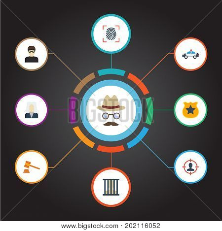 Flat Icons Thief, Suspicious, Lawyer And Other Vector Elements