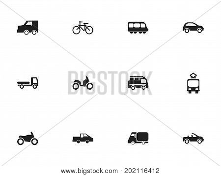 Set Of 12 Editable Transportation Icons. Includes Symbols Such As Truck, Cable Railway, Moped And More