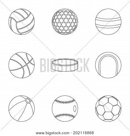 Play icons set. Outline style set of 9 play vector icons for web design