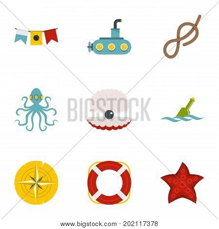 Naval icons set. Flat style set of 9 naval vector icons for web design