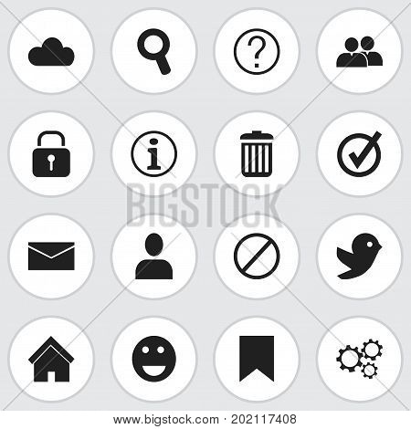 Set Of 16 Editable Network Icons. Includes Symbols Such As Emoji, Faq, Deny And More