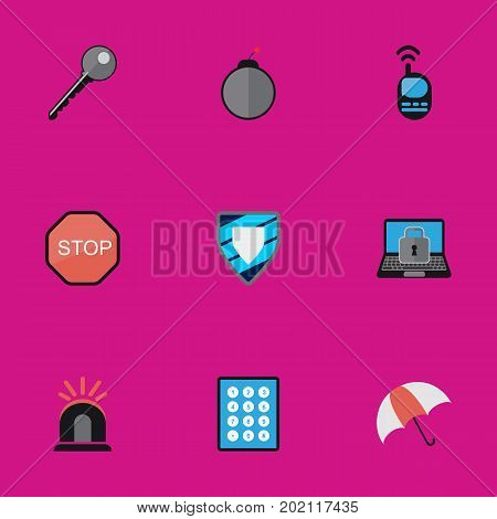 Set Of 9 Editable Procuring Flat Icons. Includes Symbols Such As Password, Alarm, Parasol And More