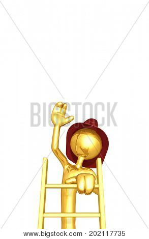 The Original 3D Character Fireman Illustration Climbing A Ladder