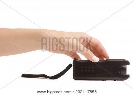 Female electroshock protection on white background isolation