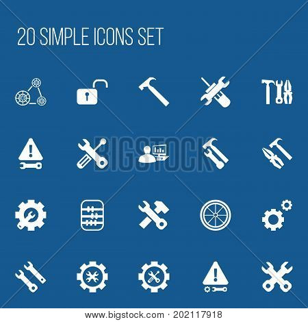 Set Of 20 Editable Tool Icons. Includes Symbols Such As Build Equipment, Utility, Handle Hit