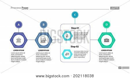 Four stages process chart slide template. Element of strategy, plan, diagram. Concept for business presentation, templates, annual report. Can be used for topics like business, management, finance