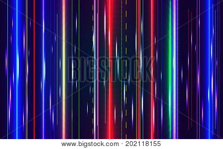 Colorful Glitch. Abstract Neon Lines Background Witn Motion Blur Effects. Error Signal Tv Or Failure
