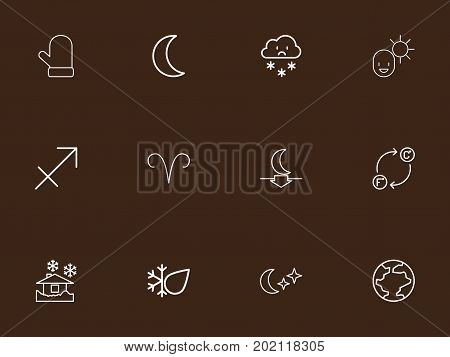Set Of 12 Editable Climate Outline Icons. Includes Symbols Such As Glove, World, Archer And More