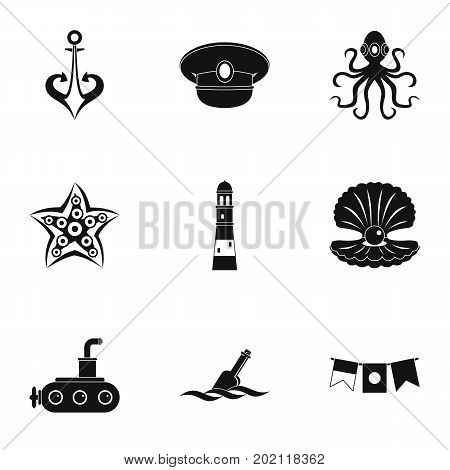 Naval icons set. Simple style set of 9 naval vector icons for web design