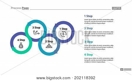 Four step process chart with descriptions. Diagram, strategy, plan. Concept for presentation, templates, annual reports. Can be used for topics like planning, finance, banking