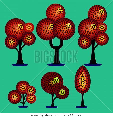 Stylized vector set of plants in autumn period. Trees and shrubs.
