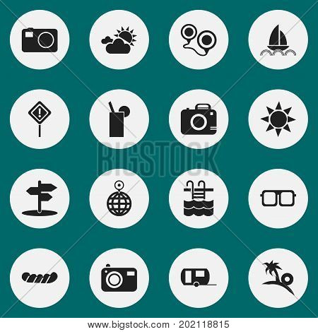 Set Of 16 Editable Journey Icons. Includes Symbols Such As Eyeglasses, Camera, Crossroad And More