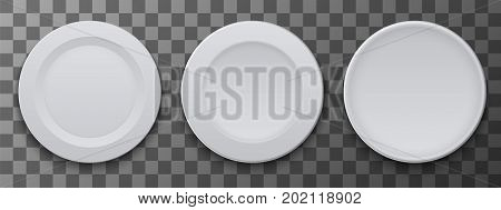 vector modern dish plate on transparent background