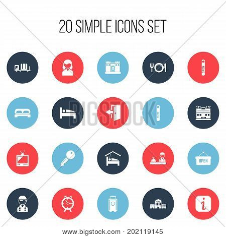 Set Of 20 Editable Motel Icons. Includes Symbols Such As Townhouse, Outlet, Opened Placard And More