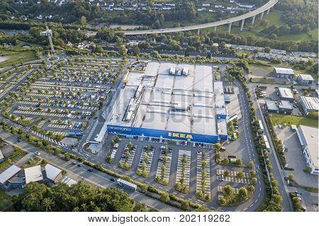 Siegen Germany - Aug 24 2017: Aerial view over the IKEA furniture store in Siegen. Siegerland North Rhine Westphalia Germany