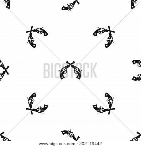 Revolvers pattern repeat seamless in black color for any design. Vector geometric illustration