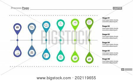 Six stages flow chart slide template. Diagram, flowchart, infographic. Concept for presentation, templates, annual reports. Can be used for topics like finance, money, banking